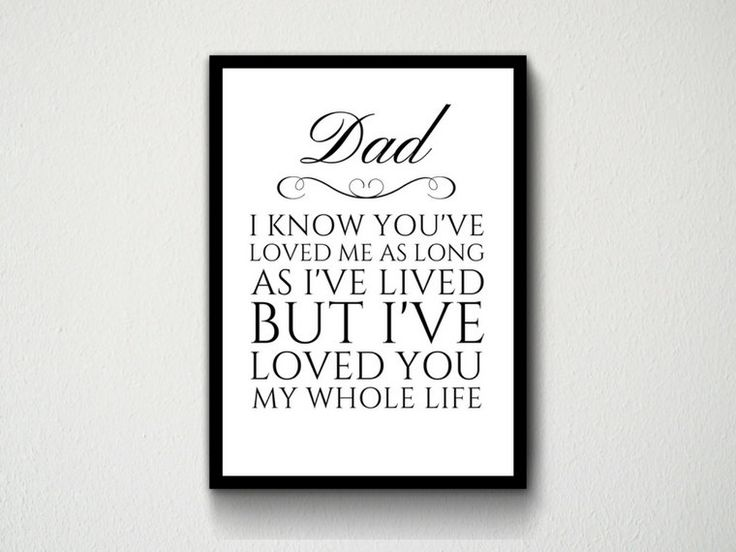 Digital Download Dad, Father, Daddy, I Know You've Loved Me As Long As I've Lived But I've Loved You My Whole Life Typography Wall Art Print by DesignsByMoniqueAU on Etsy