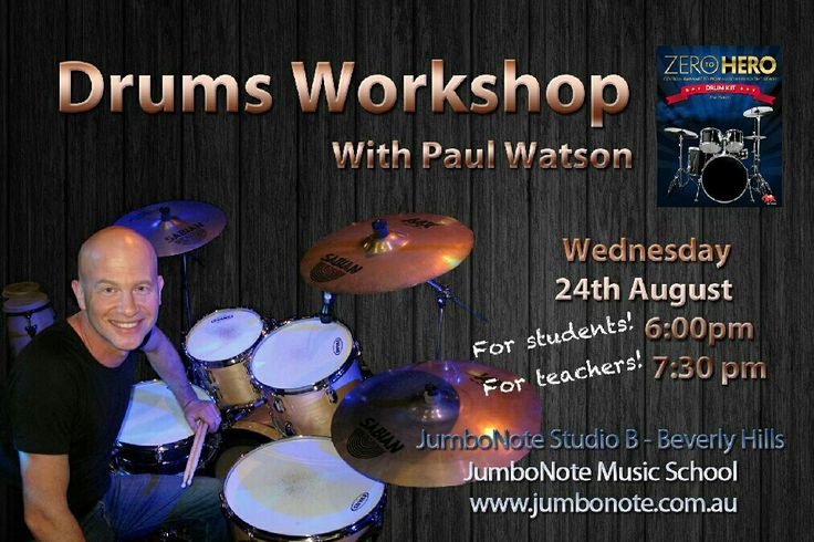 Drum extraordinaire and author of the best drum tutorial text around 'Zero to Hero' Paul Watson will be holding a series of Master Classes at JumboNote Music School for students & for teachers. Visit http://jumbonote.com.au/drum-workshop-with-author-of-popular-drum-book-series-zero-to-hero-paul-watson/