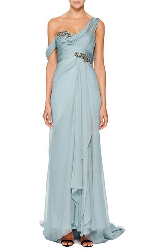 One Shouldered Chiffon Gown With Embroidered Bodice And Drape Detail by MARCHESA for Preorder on Moda Operandi