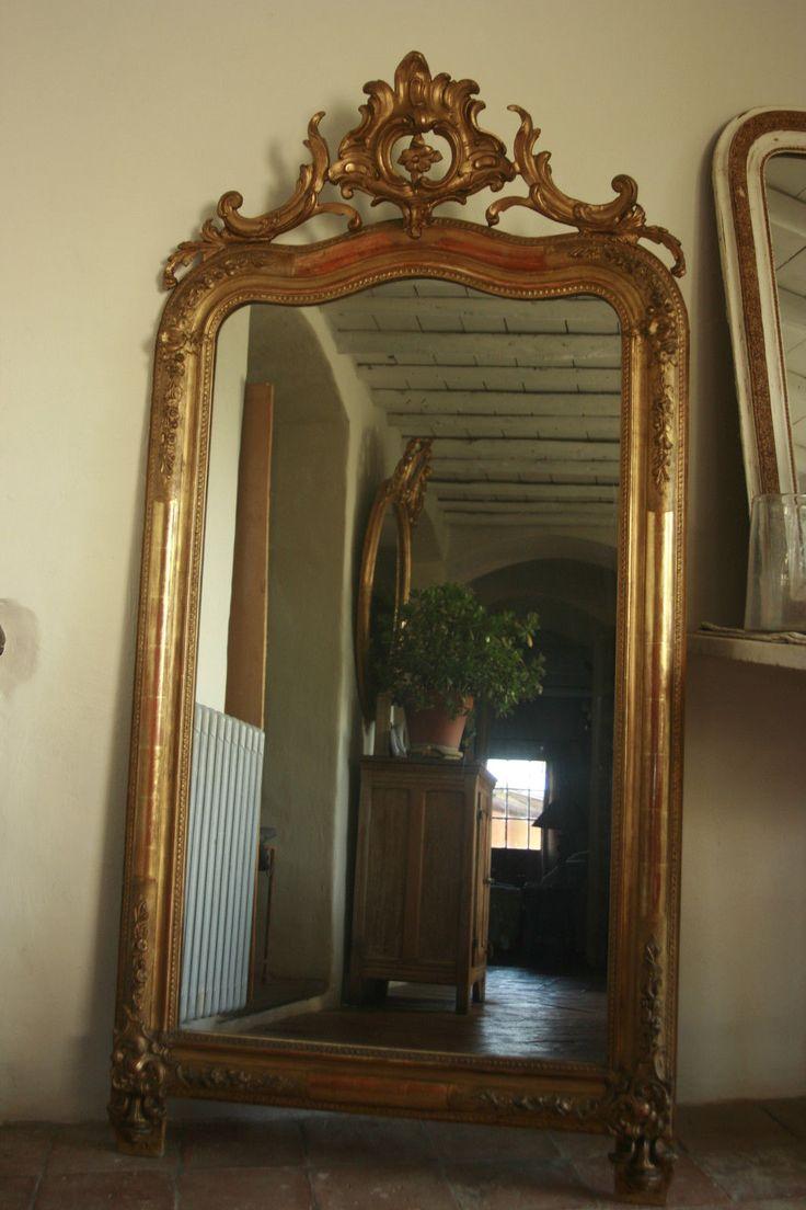 174x86 grand miroir ancien louis philippe dore a la for Grand miroir dore