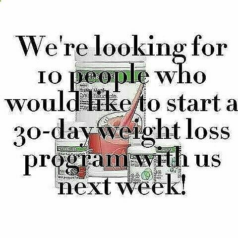 DO YOU WANT TO LOSE WEIGHT AND GET IN SHAPE IN 2017? We will start another 30 day weight loss program on January 20th! You could lose up to 20 pounds in 30 days on our Herbalife weight loss program. To start the program, youll need to purchase the QuickStart Weight Loss Program NOW to ensure your program will be delivered by the start of the new year. Please text moreinfo to 972.740.5298 for more information.
