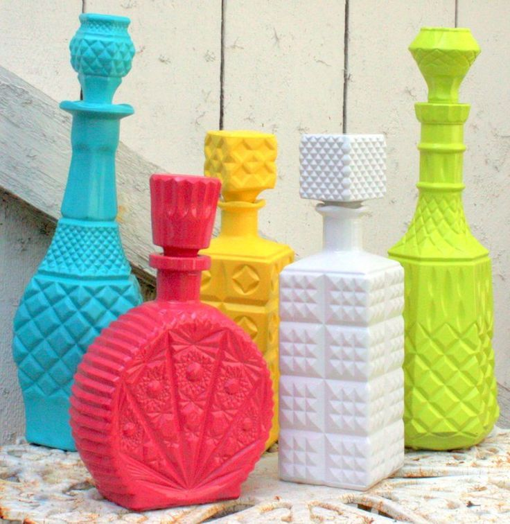 Painting flea market decanters. How cool is this idea!  via…
