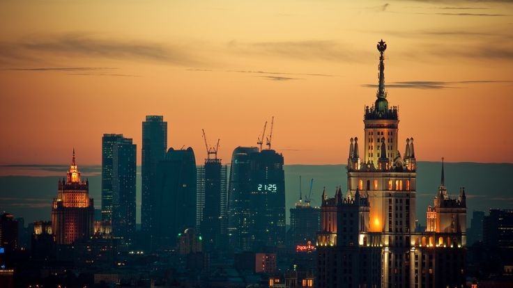 Moscow, Sunset, downtown.
