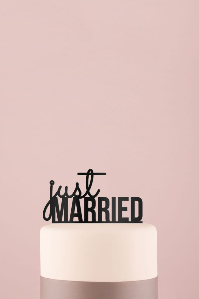 Just Married Acrylic Cake Topper - Black