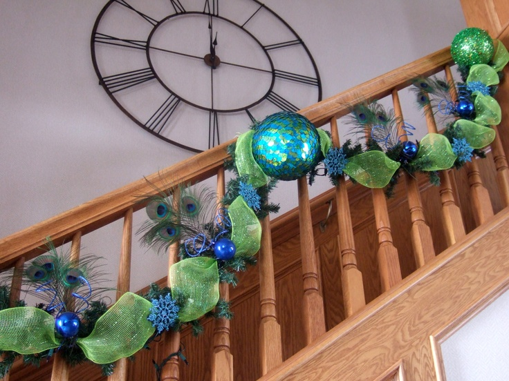 Blue Green Peacock Garland - Check out my Peacock Christmas board to view the rest of the decorations
