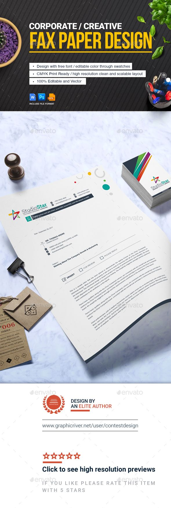 Fax Paper Cover Sheet | #Letterhead Design Template - Stationery Print Templates