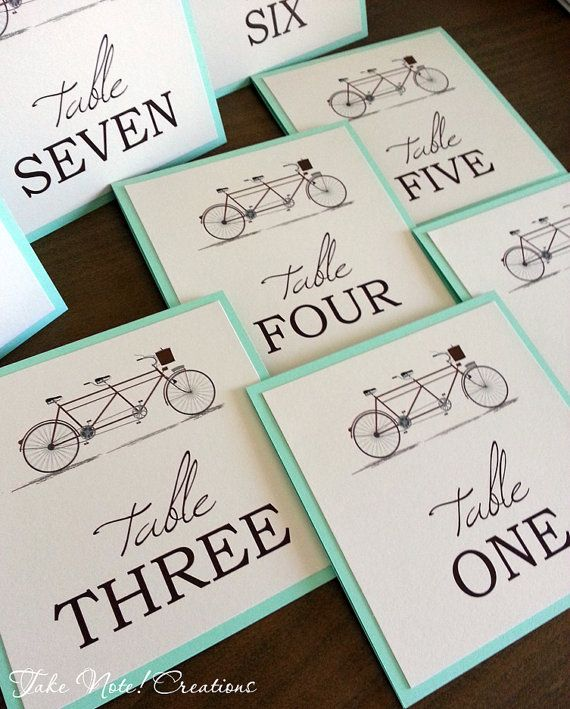 Wedding Table Numbers  Tandem Bicycle by TakeNoteCreations on Etsy, $3.75