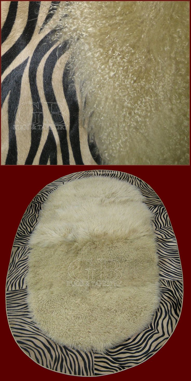 Carpet in Mongolia beige fur with edge in skin dyed to zebra, of oval form, always of our production; price € 750,00 meter square We made on commission and customised. It needs a couple of months for realize it. It can be orderly also this with edge perimetrale in crocodille style or other leather. we make the estimate in base to the in demand project