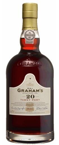 Graham's 20 Years Old Tawny Port: Een 20 jaar oude port is een blend van diverse oudere jaren, die, mits met zorg geblend de impressie geven van een 20 jaar oude port. Door langduring lageren op eikenhout verandert de kleur van diep, donker rood naar roodbruin/oranje.