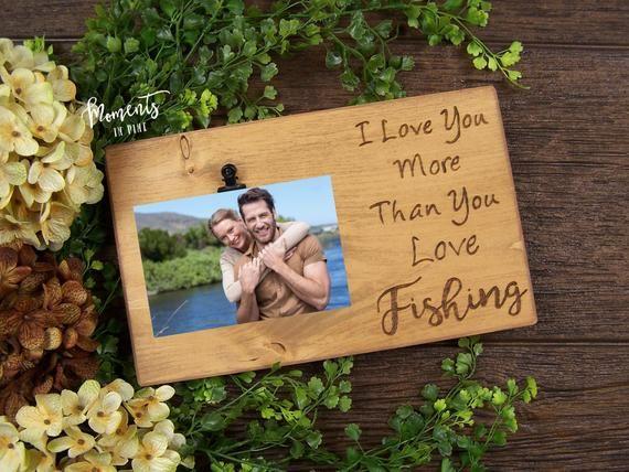 Ich liebe dich mehr als du liebst Angeln, Paare Frame, rustikale Bilderrahmen, lustige Valentinstag Gif   – Products