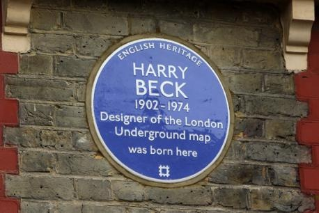 Harry Beck blue plaque, Wesley Rd, Leyton