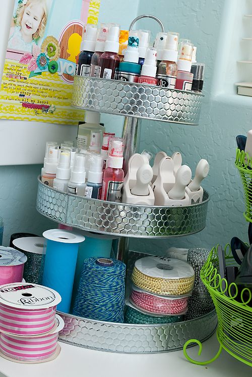 tiered tray in the studio: Crafts Rooms, Crafts Organizations, Crafts Storage, Tiered Trays, Nails Polish, Art Supplies, Cakes Stands, Storage Ideas, Crafts Supplies