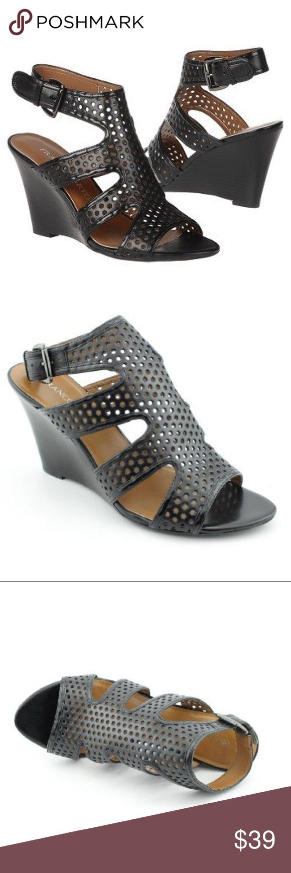New Philip Sarto Gavel Wedges Franco Sarto offers the Gavel sandal. This sandal features intricate cutout details and a wedge heel. Leather.  Features Wedge Sandals Ankle strap Open toe Cutout Franco Sarto Shoes Wedges