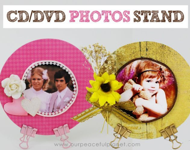 Make these very simple photo stands from old CDs or DVDs and small binder clips. Makes a wonderful gift and are perfect for any holiday or…