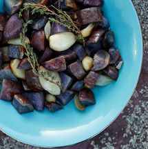 The color of these Peruvian potatoes makes this a different and delicious side dish. Try this recipe for tasty roasted purple potatoes with garlic, cilantro, and thyme.