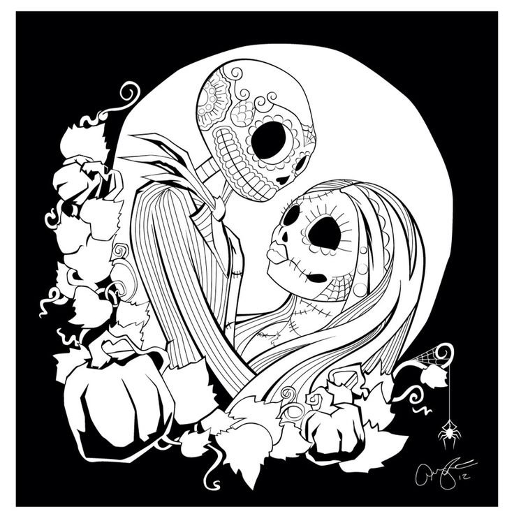 Jack Sally Coloring Coloring Pages Christmas Coloring Pages