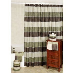 Sage Green And Brown Shower Curtain