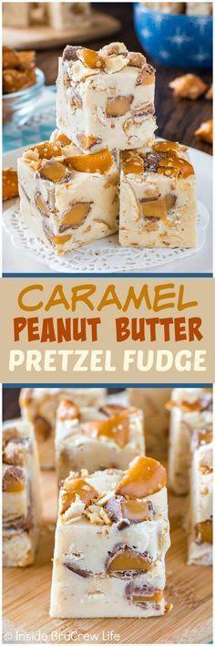 Caramel Peanut Butter Pretzel Fudge - swirls of candy bars and pretzels inside a creamy peanut butter fudge add a fun crunch! Great no bake dessert recipe that is ready in minutes! (Chocolate Chip No Bake)