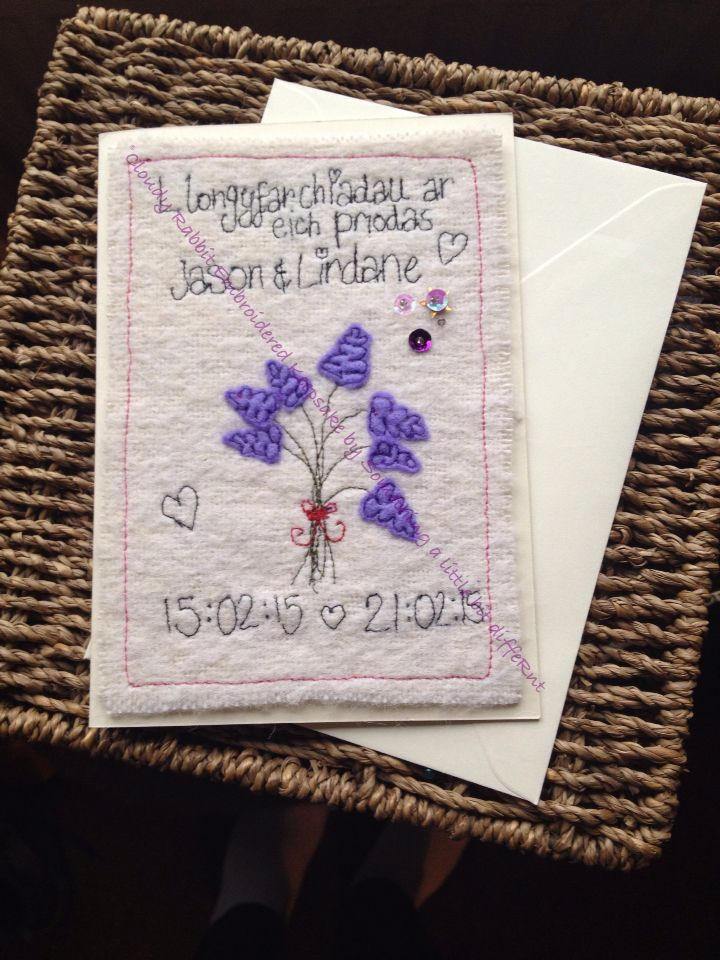 A simple lavender wedding card with Welsh text....and two dates!  #freehand #machineembroidered #cloudyrabbitembroideredkeepsake #madetoorder  Available to order from www.facebook.com/somethingalittlebitdiffeRnt  Or email at somethingalittlebitdifferent@gmail.com