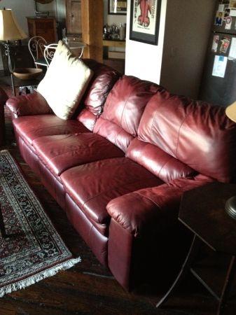 Leather Sofa Decor, Dark Red Color Leather Sofa