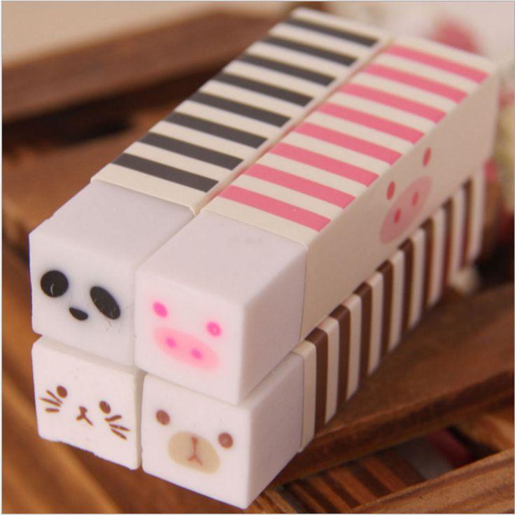 Cute Kawaii Stripe Rubber Eraser Lovely Cartoon Cat Bear Erasers For Kids Gift Korean Stationery Free Shipping 2708
