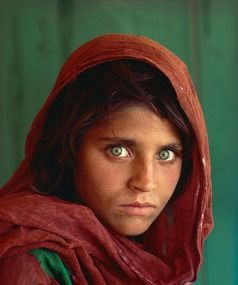 Afghan Girl 1984 by Steve McCurry, which features in 50 Greatest Photographs of National Geographic at Expressions in Upper Hutt (Kathryn)