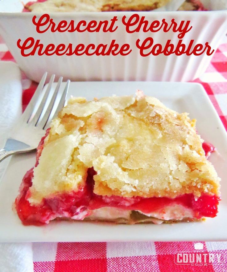 Crescent Cherry Cheesecake Cobbler is layers of crescent rolls, cheesecake and cherry pie filling. Any flavor of pie filling works great. So good!