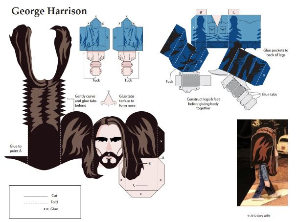 Blog Paper Toy papertoys Beatles George Harrison template preview Papertoys The Beatles by Gary Willis (x 4)