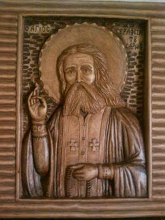 ΞΥΛΟΓΛΥΠΤΙΚΗ WOOD CARVING резьба по дереву Λυδιανός: Αγιος Σεραφείμ του Σαρωφ σε ξύλο Φλαμουριάς. 20Χ25...