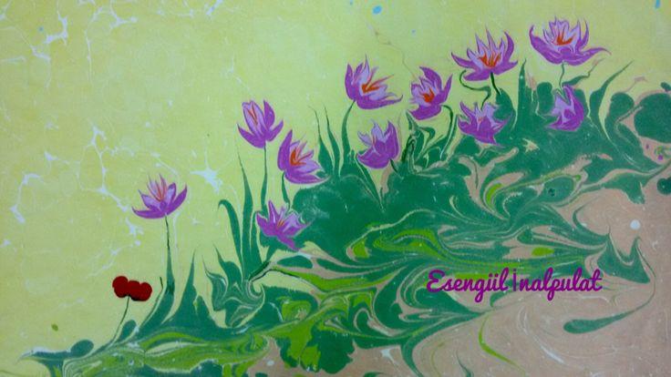 Safran çiçeği ebru sanatı Marbling art Artist Esengül İnalpulat  www.artmajeur.com/kirmizi www.facebook.com/ebruisligi