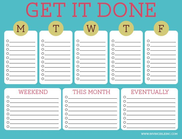 Daily, Weekly, Monthly to do list invincibleinc.com
