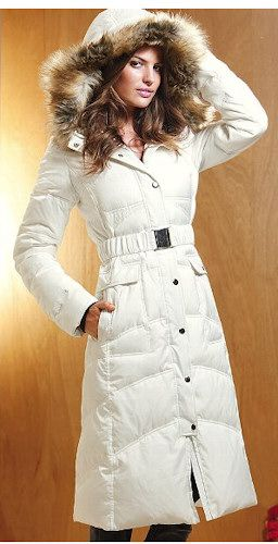Victoria's Secret Long Puffer Coat. I have it , but there is no snow here.......