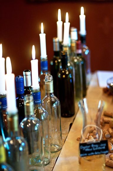 empty wine bottle decor with candles