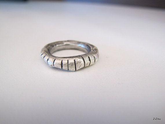 Massive silver band ringoxidized Contemporary jewelery by ZizouArT