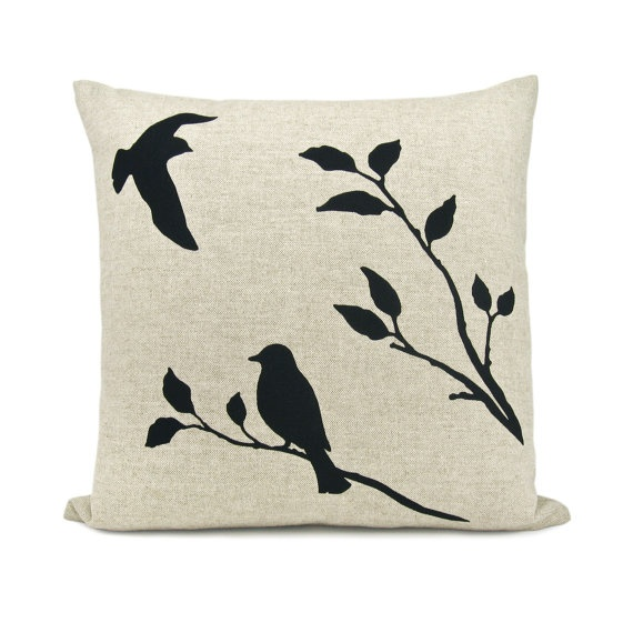 Love birds pillow case - Black flying bird and bird on a branch print on natural beige canvas - 16x16 decorative pillow cover. $38.00, via Etsy.