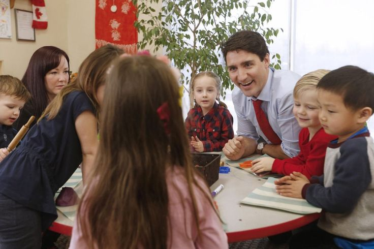 Prime Minister Justin Trudeau meets with children at a YMCA-YWCA day care centre in Winnipeg in March,  Trudeau was in Winnipeg to highlight his government's plan to spend $7 billion over 10 years to create more child care spaces across Canada.