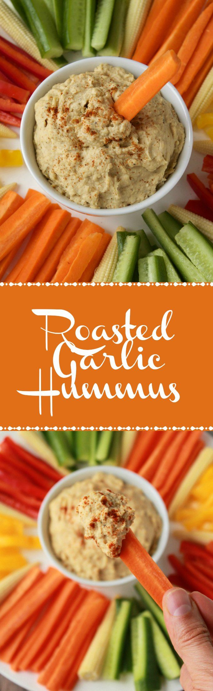 Creamy and Delicious Roasted Garlic Hummus. Vegan and Gluten-Free. Ideal as an appetizer or dip! Vegan | Gluten-Free | Vegan Food | Recipes