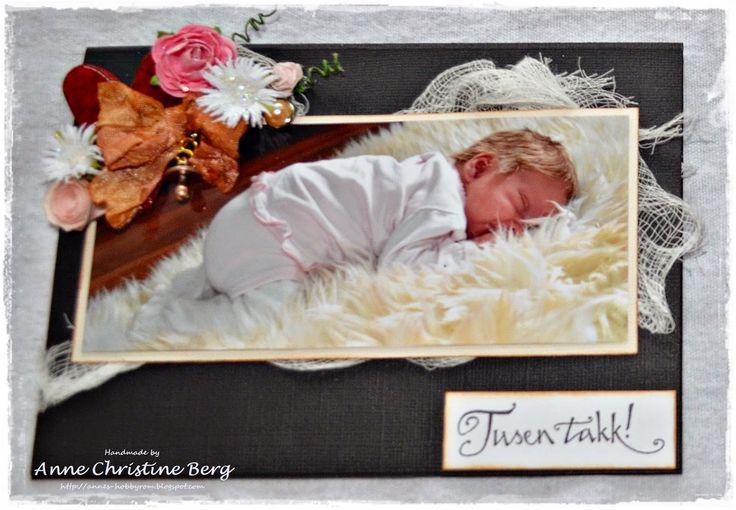 A baby thank you card. Et babytakkekort.