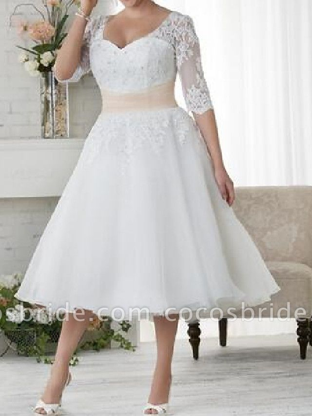 Ball Gown A Line Wedding Dresses Scoop Neck Tea Length Lace Tulle Half Sleeve Country Plus Size In 2020 Wedding Dresses Simple A Line Wedding Dress Plus Size Wedding Dresses With Sleeves