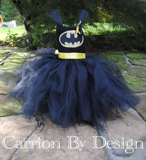 Batman Tutu Dress Costume with matching hair clip - Newborn to Size 9 - Baby - Toddler - Girls Trendy Clothes for the Dapper Little Dudette on Etsy, $35.00