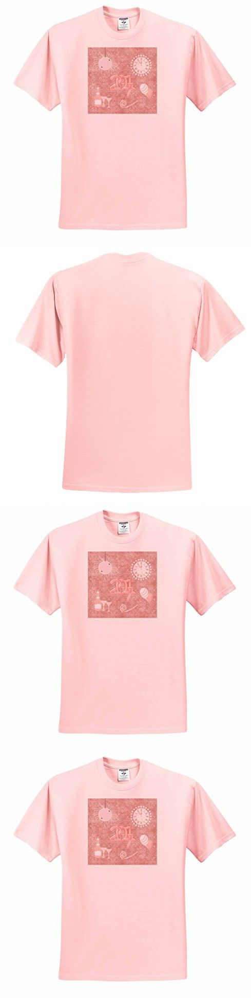 Beverly Turner New Years Design - New Year 2017, Champagne, Glasses, Clock, Balloon, Whistle, pink - T-Shirts - Adult Light-Pink-T-Shirt 2XL (ts_244245_38)