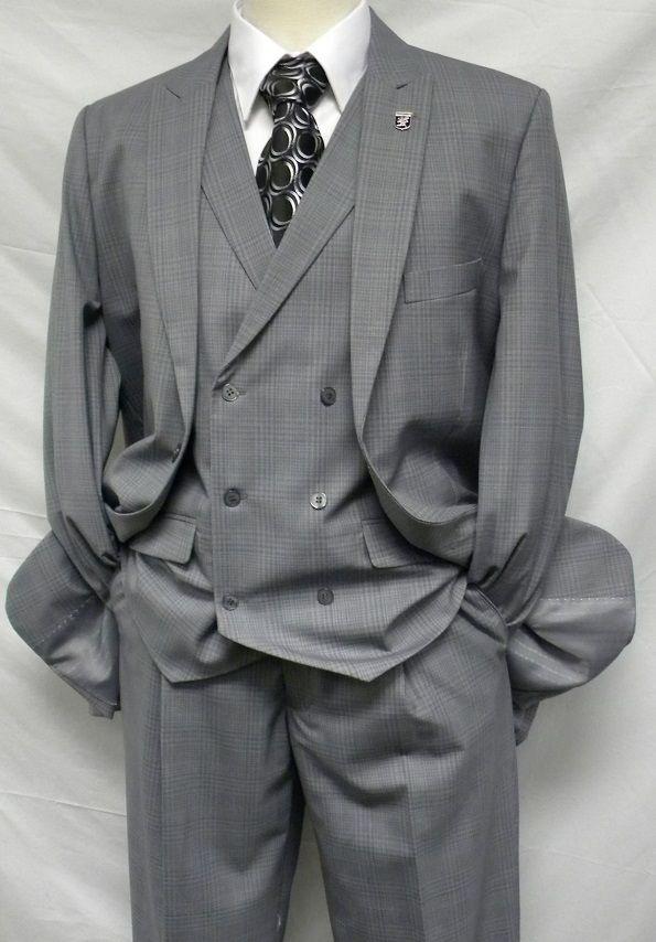 Stacy Adams Mens Grey Plaid Mash DB Vest 3 Piece Suit 5228-001
