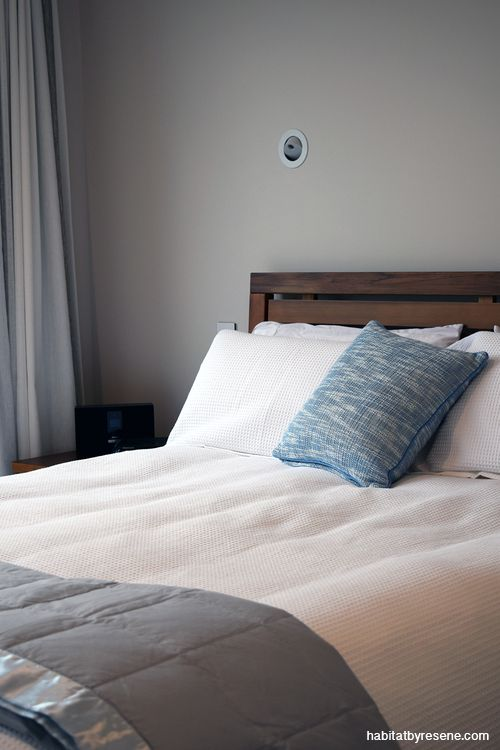 The couple wanted to carry the same relaxed colour throughout their home, using Resene Eighth Bison Hide in the master bedroom. http://www.habitatbyresene.co.nz/ron-and-sheryl-reveal-beauty-beige