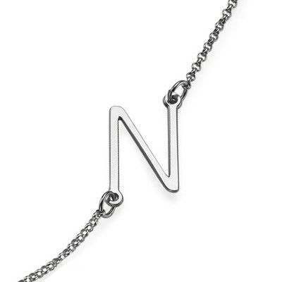 Silver Side Initial Necklace | MyNameNecklace