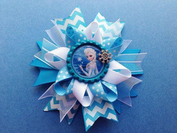 Elsa Frozen Bow - Anna, Elsa, Olaf Bow - Hair Clip