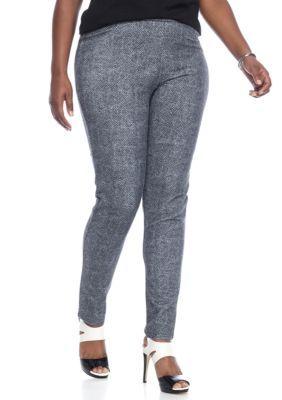 Michael Michael Kors Women's Plus Size Printed Pull-On Leggings - Black - 2X