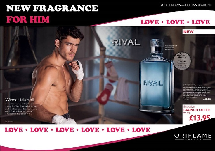 Rival Eau de toilette is new with the fab offer price of just £13.99   The environment of the boxing ring influenced this masculine scent and the bottle has been shaped like a torso of a well-trained boxer.   The woody-watery scent is powerful with a shot of black coffee in the base note with striking vibrant and zesty top notes. The perfumer wanted to create an exciting new fragrance for the champion who never backs down but with the warmth of elegance, sexiness and a sophisticated allure.