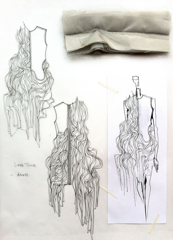 follow me @cushite Fashion Sketchbook - fashion design drawings with fabric manipulation ideas & fabric samples for development; fashion portfolio // Connie Blackaller