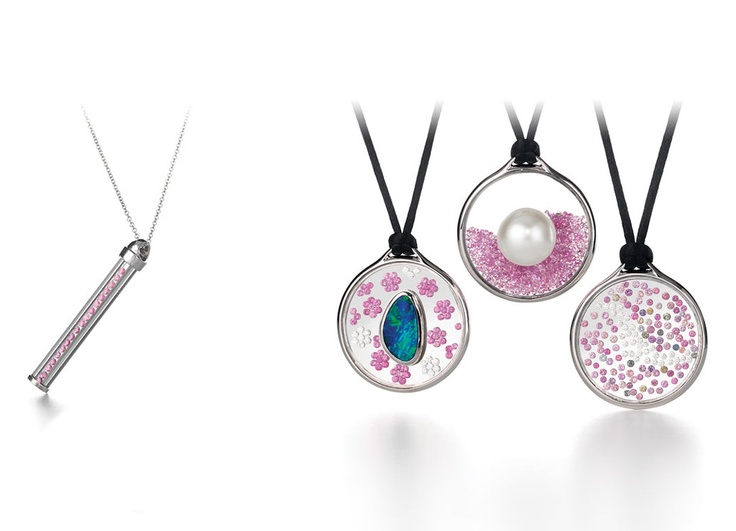 Vetro Pendants by Giulians.  These pendants feature pink sapphires, white diamonds, a boulder opal and an Australian pearl.