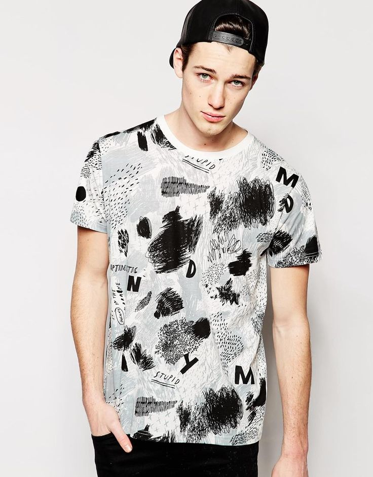 Cheap Monday T-Shirt Standard Crazy Doodle All Over Print